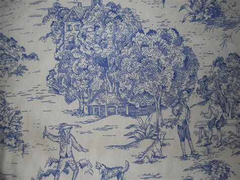 Upholstery Fabric Yardage Chart Blue French Toile Fabric French Country Home Decorative
