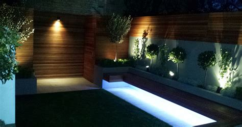Contemporary Landscape Lighting Modern Garden Design Ideas Great Lighting Fireplace Hardwood Screen Plastered Rendered Walls