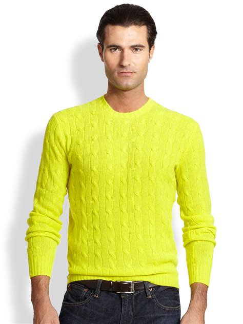 Sweater Polos polo ralph cable knit sweater in yellow for lyst