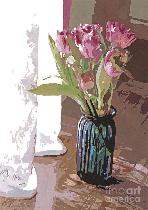 tulips   glass vase painting  david lloyd glover