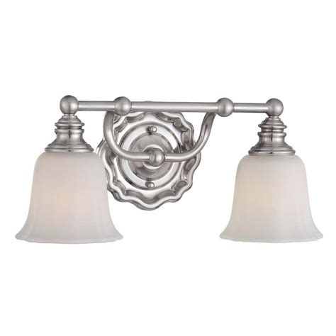 home decorators collection 2 light brushed nickel retro vanity light with metal shades home decorators collection lort 2 light brushed nickel bath light 15292 the home depot