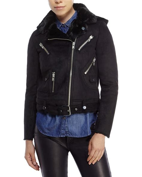 sport biker jacket lyst the kooples sport faux shearling biker jacket in black