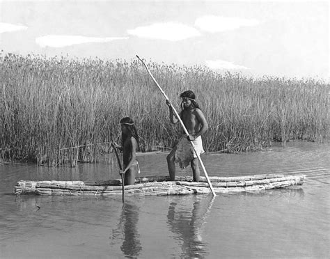 Hunting And Fishing Home Decor Yokuts Poling Tule Boats Photograph By Underwood Archives Onia
