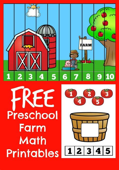 preschool farm math counting printable set free