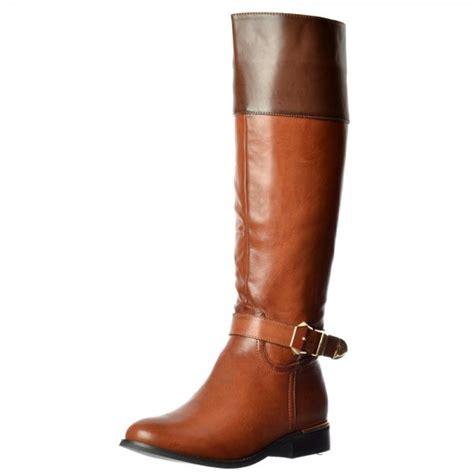 shoekandi wide calf knee high flat boot gold heel