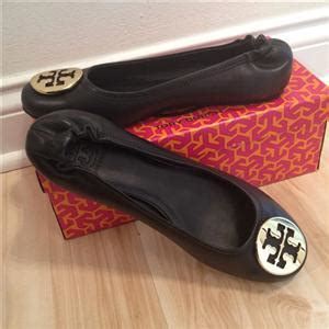 flat shoes with gold medallion new burch reva black gold medallion leather ballet