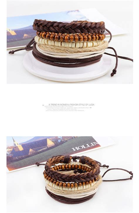 Gelang Kulit Genuine Leather Gelang Kulit Pria Gelang Cowok Stainless gelang bangle kulit vintage model rope wood