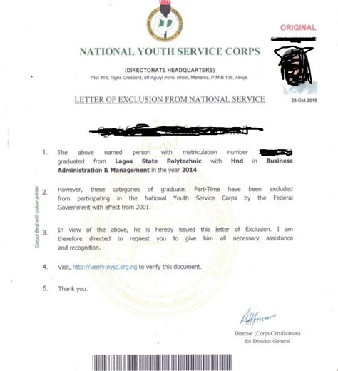 Nysc Request Letter Sle Nysc Exemption And Exclusion With Their Sle Certificates Letter My Lover S Trick