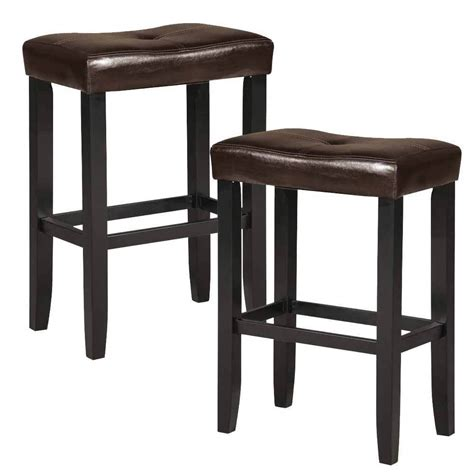 24 Inch Saddle Bar Stools Espresso by Set Of 2 Micha Saddle 24 Quot H Counter Stool Chair Espresso Pu