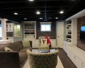 unfinished basement ceiling ideas semi finished basement room sized carpet ikea bookcases