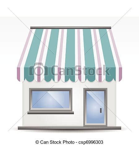 Blue Awning Vectors Of Storefront Awning Vector Illustration Of