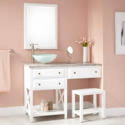 Bathroom Make Up Vanity 48 Quot Glympton Vessel Sink Vanity With Makeup Area White Bathroom Vanities Bathroom