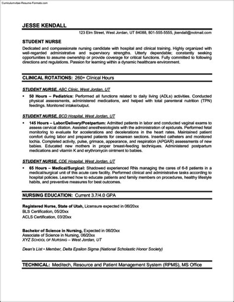 resume templates for nurses free sles exles