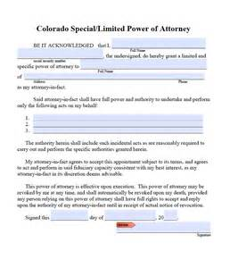 free limited power of attorney colorado form pdf word
