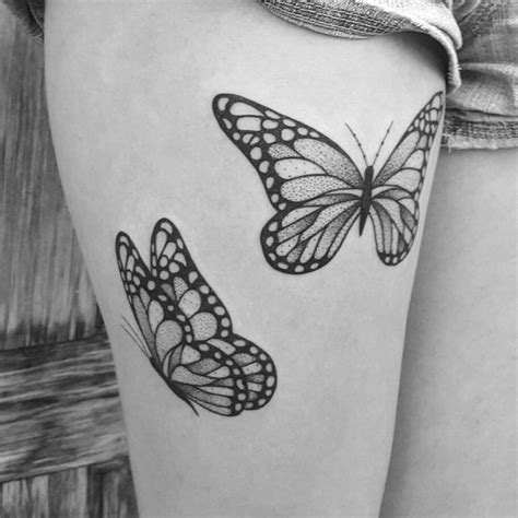 black and white butterfly tattoo 25 beautiful thigh ideas for