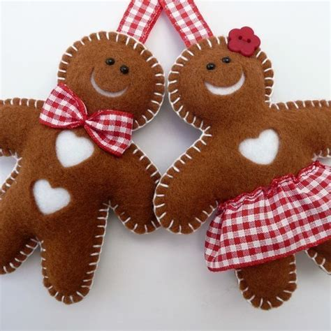 mr mrs gingerbread felt decorations folksy