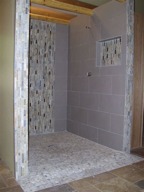 Doorless Curbless Tile Shower With River Rock Floor And | 42 best images about bathroom on pinterest travertine