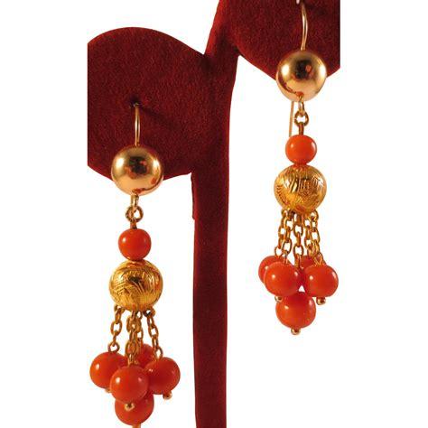 Coral Chandelier Earrings Beautiful Antique 14k Gold Salmon Coral Bead Chandelier Earrings From Judisantiquejewelry On