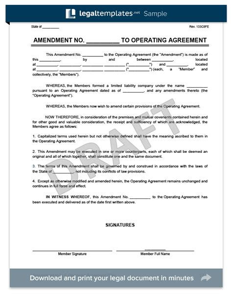 Amendment To An Llc Operating Agreement Create Download Llc Ownership Agreement Template