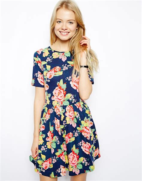 Muddy Floral Print Dresses by Lyst Asos Skater Dress In Pretty Floral Print In Blue