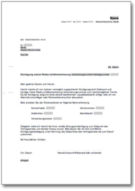 Musterbrief Widerspruch Bank k 252 ndigung risiko unfallversicherung de musterbrief