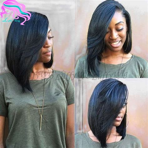 layered bob sew in hairstyles for black women for older women layered human hair short bob wigs side part virgin