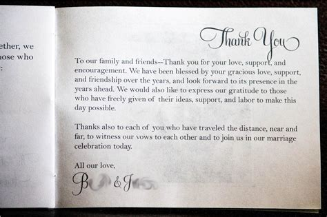thank you letter to parents for wedding day wedding program thank you messages c bertha fashion