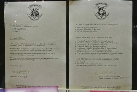 Hogwarts Acceptance Letter Warner Brothers Harry S Acceptance Letter From Hogwarts Picture Of Warner Bros Studio Tour The