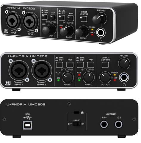 Soundcrad Behringer Umc 202 Hd behringer u phoria umc202 hd interface audio 2x2 canaux usb neuf jsfrance