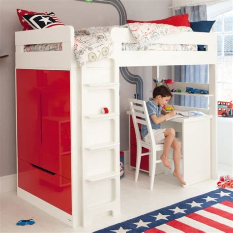 Boys Bed With Desk by Lively Colorful Boys Room Space Saving Bunk Bed Designs