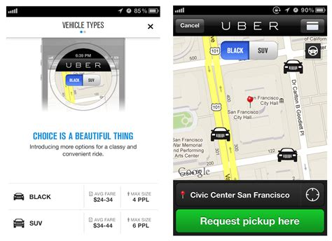 Car Types In Uber by Uber App Request A Ride With Uber