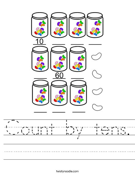 Counting By 10 S Worksheets by Count By Tens Worksheet Twisty Noodle