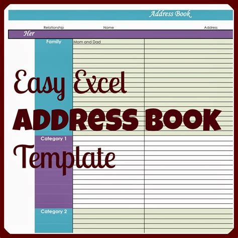 Laura S Plans Easy Excel Address Book Template Mailing Address Template Excel