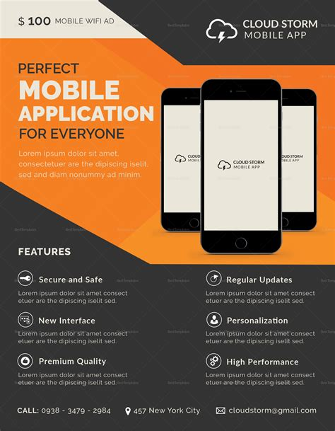Mobile App Flyer Template mobile app flyer design template in psd word publisher