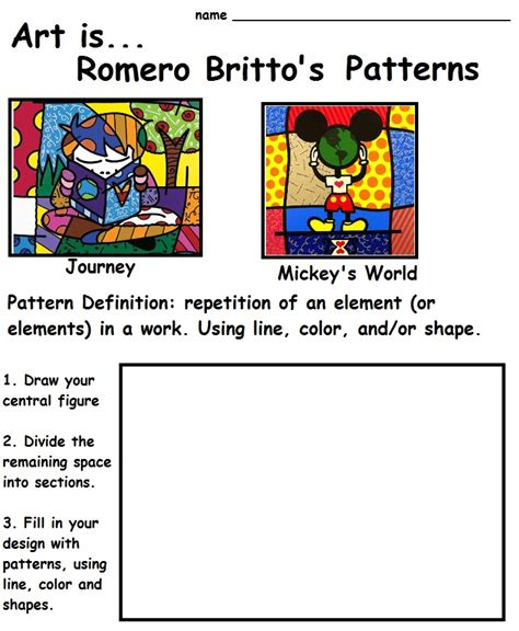pattern in art lesson plan the smartteacher resource art is romero britto s patterns