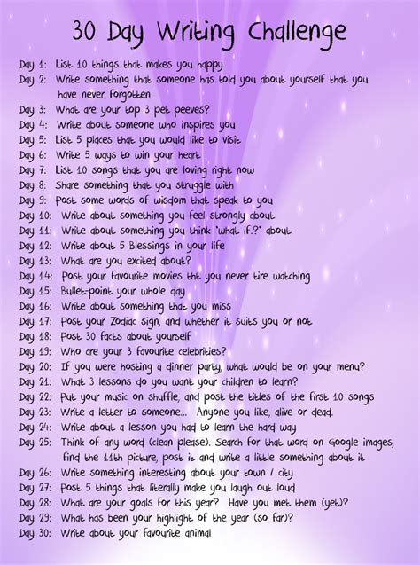 A Written Challenge by 30 Day Writing Challenge Insanely Normal
