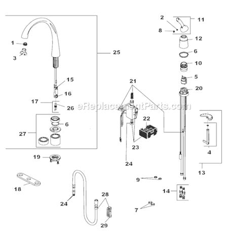 Glacier Bay Kitchen Faucet Replacement Parts by Delta Faucet 4380t Dst Parts List And Diagram