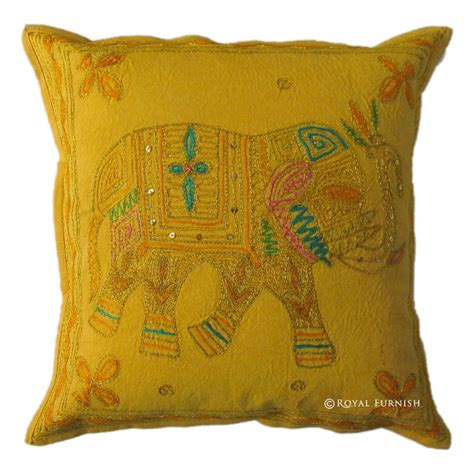 Decorative Elephant Pillows by Yellow Indian Handicraft Elephant Golden Embroidered