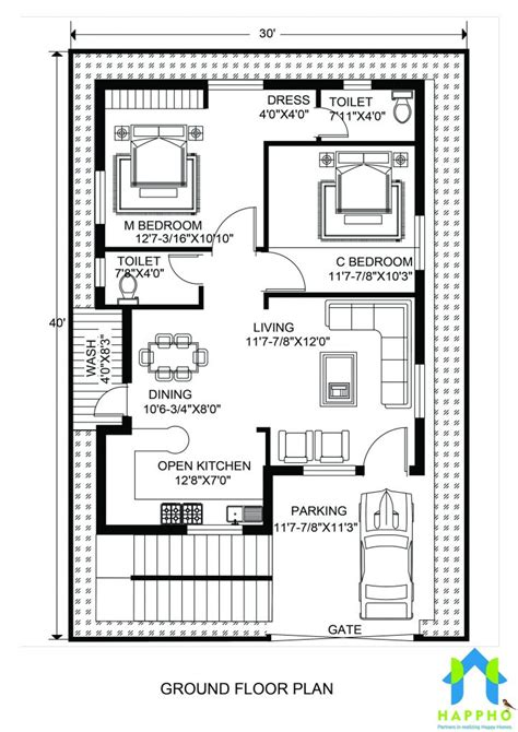 10 Foot By 25 Foot Floor Plan by Floor Plan For 30 X 40 Plot 2 Bhk 1200 Square