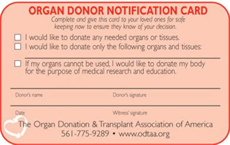 Organ Donor Card Template by Organ Donor Card Pictures To Pin On Thepinsta
