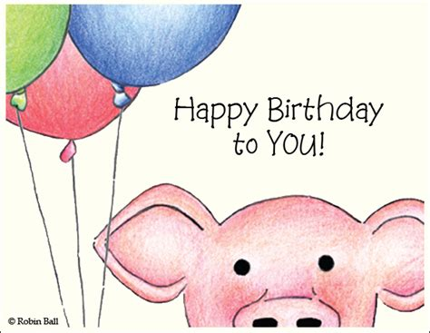 Pig Birthday Card Boxed Greeting Cards Hand Drawn Cards Pig Cards
