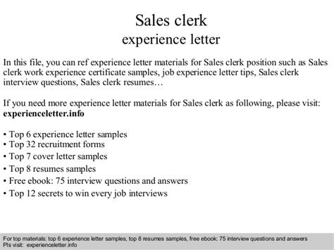Finance Clerk Cover Letter Sles Sales Clerk Experience Letter
