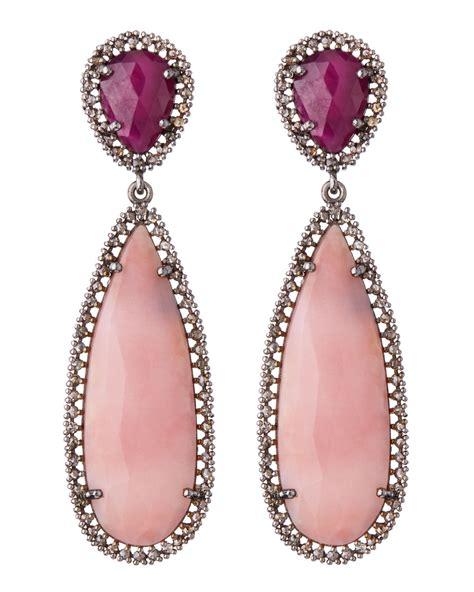 blackpink earrings bavna pink opal ruby teardrop earrings in pink lyst