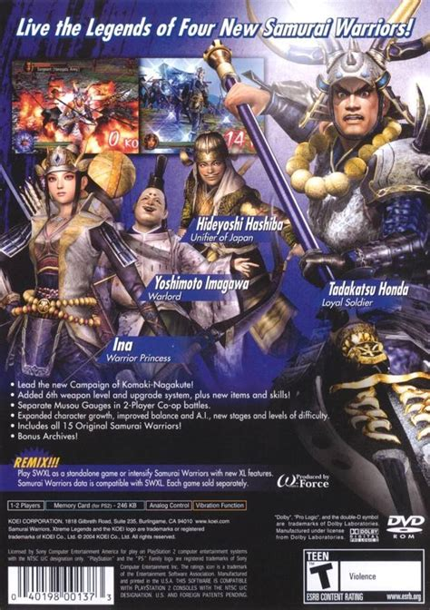 emuparadise the warriors ps2 samurai warriors xtreme legends box shot for playstation