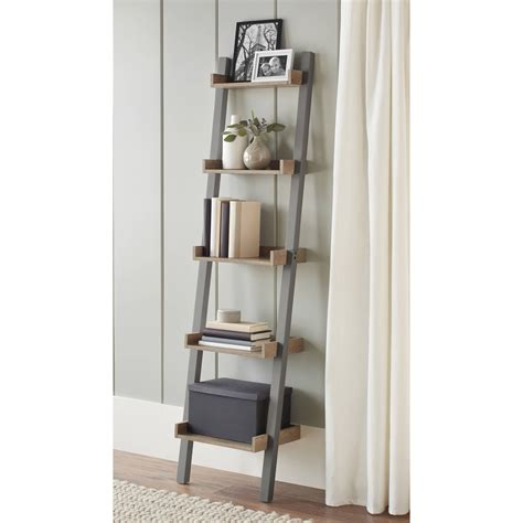 Mainstays Metro 3 Shelf Bookcase Warm Ash Finish Leaning Ladder 5 Shelf Bookcase