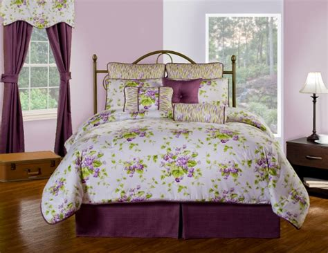 Purple And Green Bedding Sets 4pc Stunning Purple Green White Floral Design Comforter Set Cal King Ebay