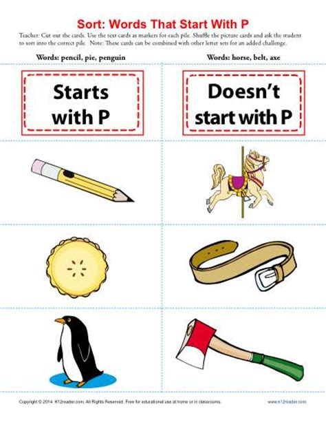 themes that start with s words starting with letter p beginning consonant worksheets