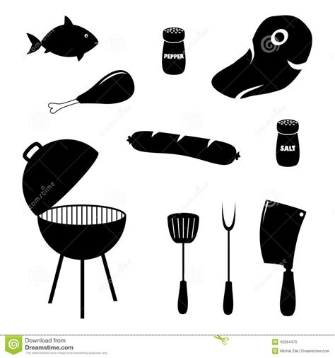 Kitchen Design Tampa set of barbecue related icons food grill and tools stock