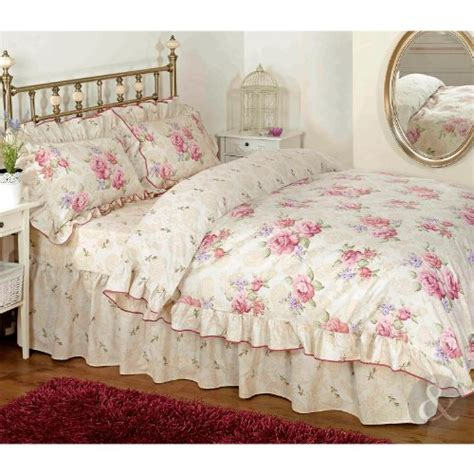 vintage floral frilled duvet cover cream beige pink bedding set pillow cases