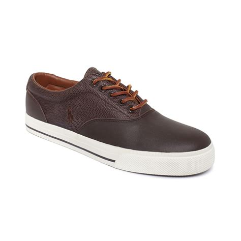 polo shoes for polo ralph polo vaughn saddle sneakers in brown for